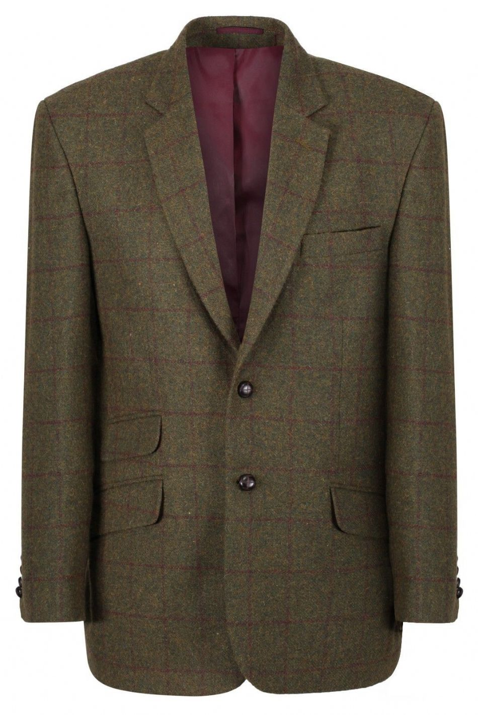 Blenheim Checked Tweed Jacket Blazer Sports Coat Quality Green Claret Wool New